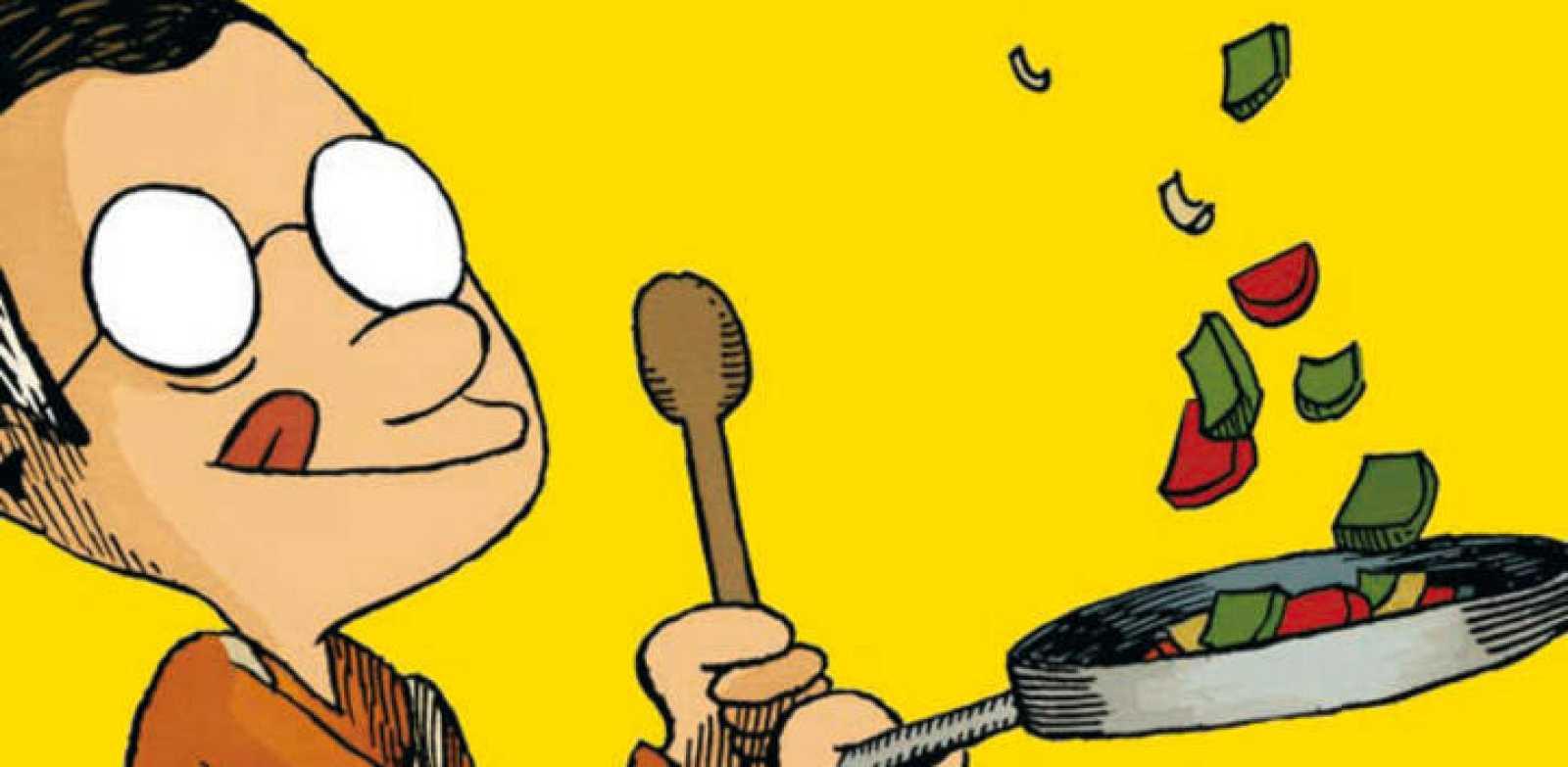 Fragmento de la portada de 'A comer y a beber' del dibujante suizo Guillaume Long