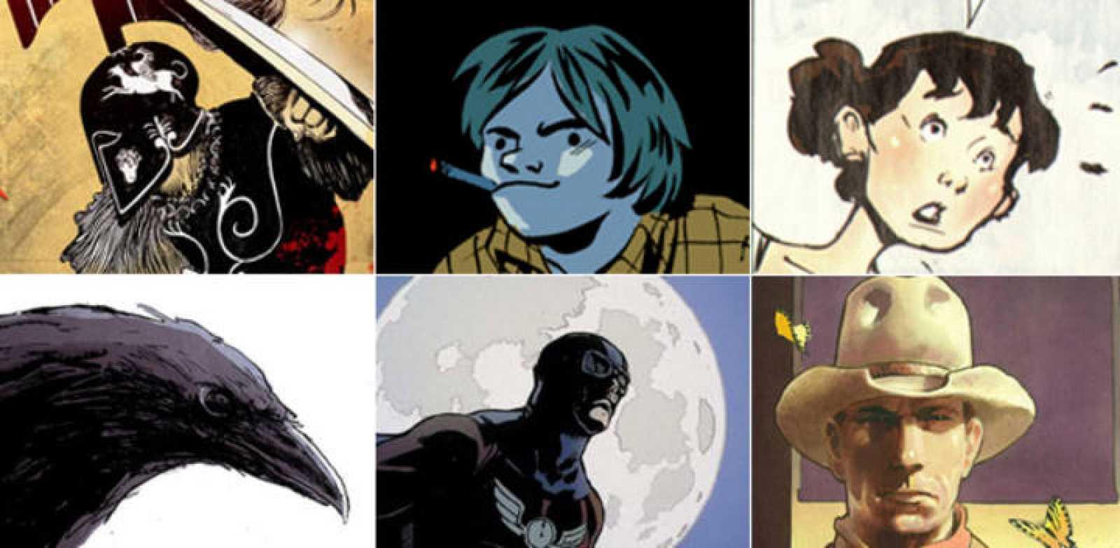 Imágenes de La Odisea (Norma Editorial), 'Una vida sin Barjot' (Ninth Ediciones), 'Sentido y sensibilidad' (Panini); 'The Crow' (Yermo ediciones), 'Capitán Midnight' (Aleta ediciones) y 'Deadline' (Yermo ediciones)