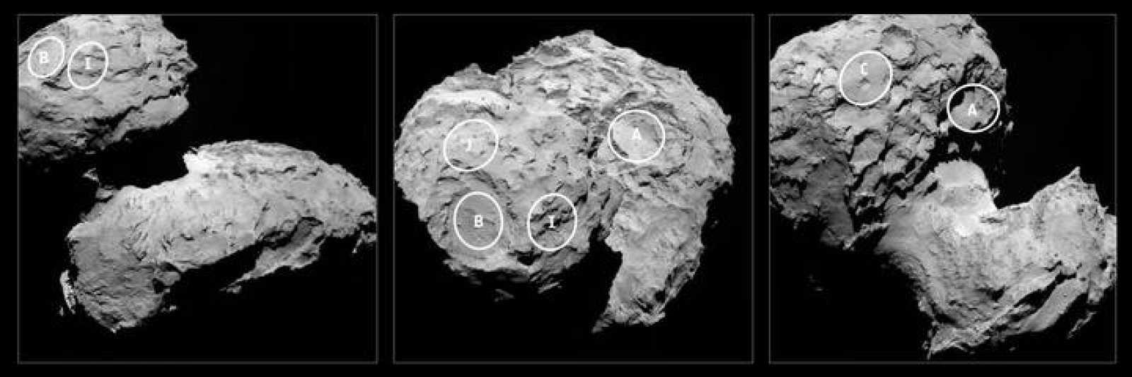 Los cinco lugares preseleccionados para que aterrice la sonda Rosetta en el cometa