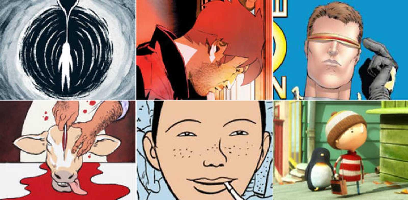 Imágenes de 'Los últimos días de un inmortal' (Ninth ediciones), 'metropolitan' (Ninth ediciones), 'New X-Men de Grant Morrison' (Panini), 'Revienta cerdo' (Norma), 'Rosario y los inagotables' (La Cúpula), y la revista 'Minchó'