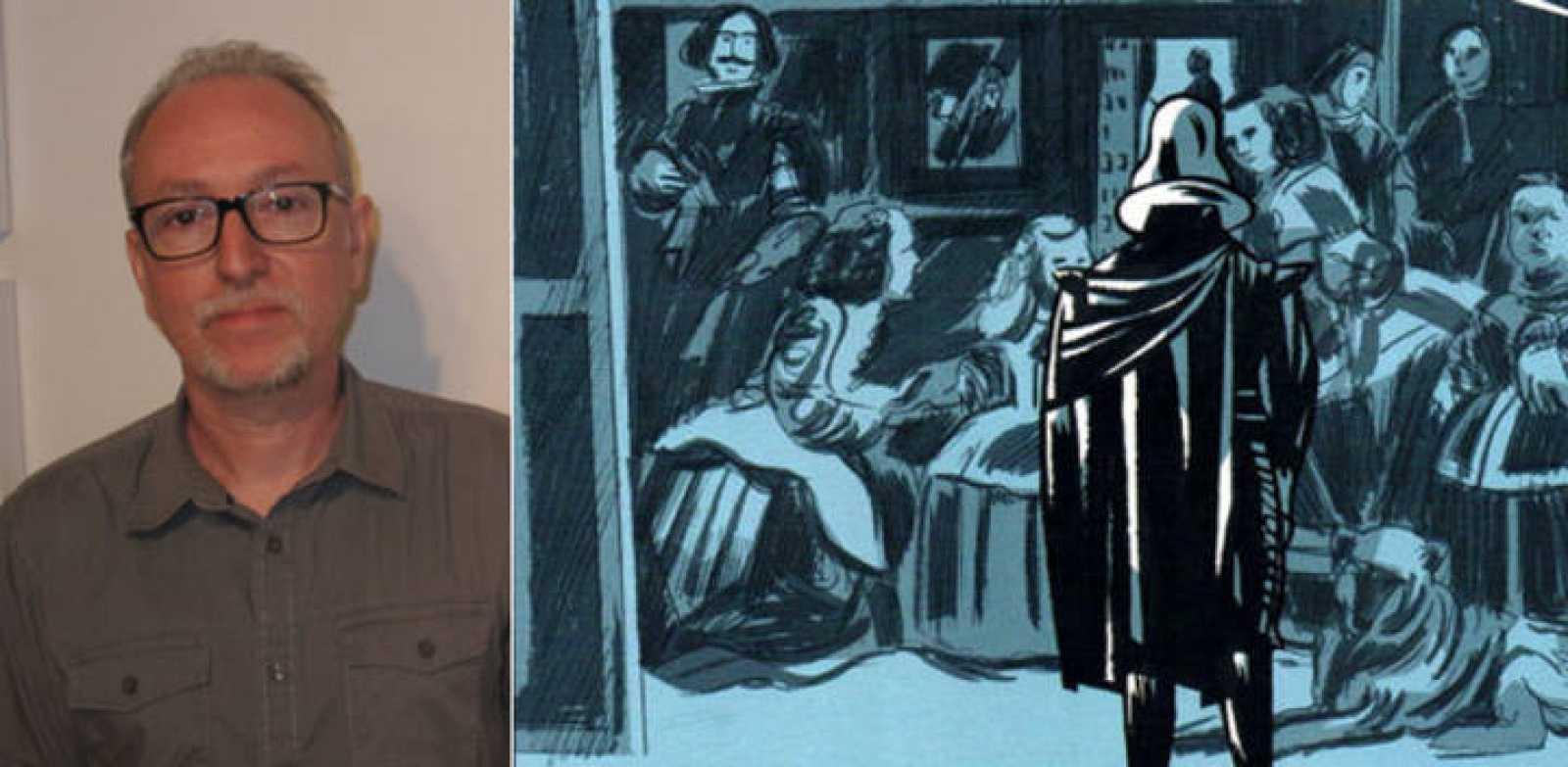 Javier Olivares y una viñeta en la que Felipe IV admira el cuadro de 'Las Meninas'