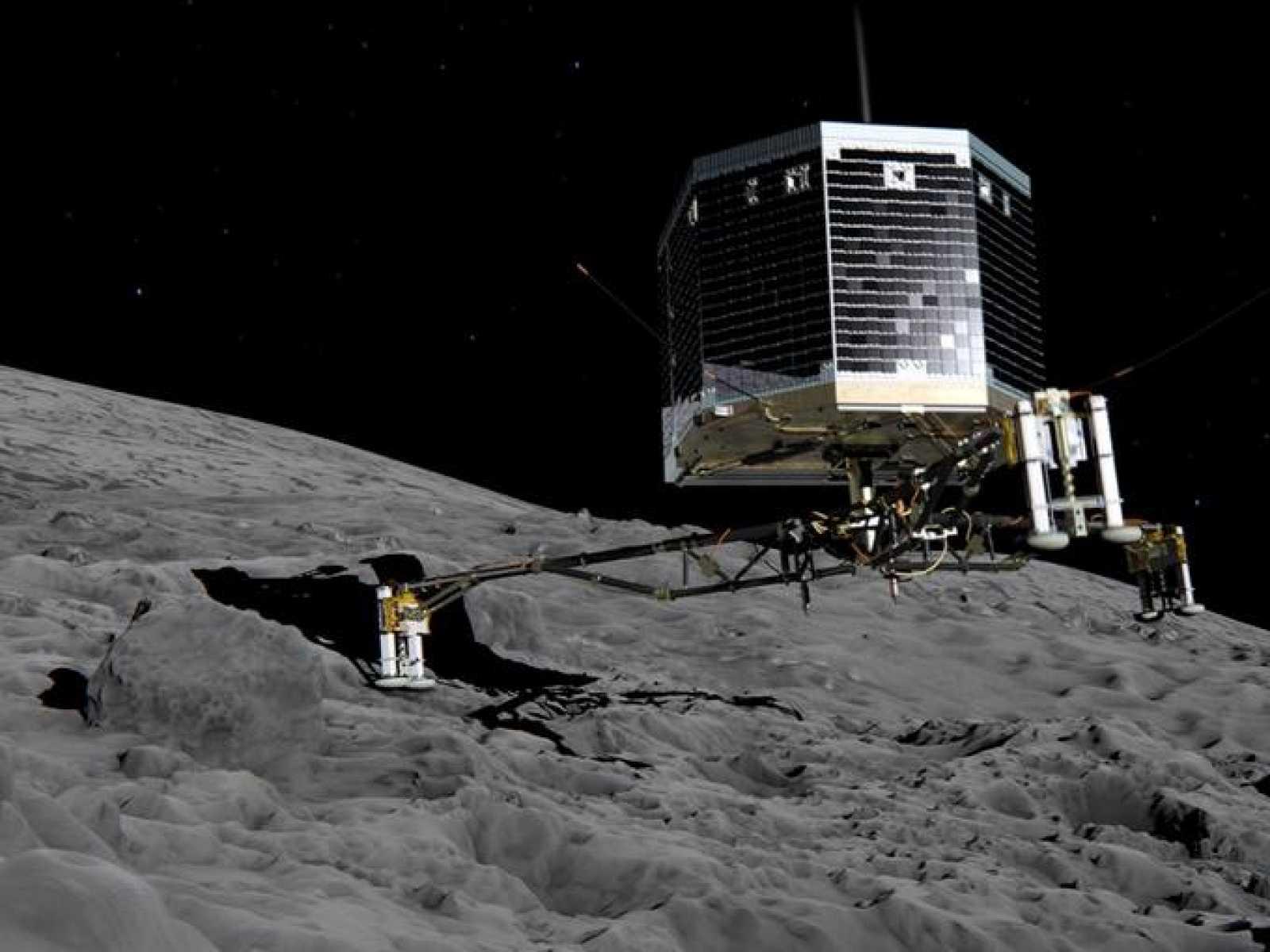 Ilustración del aterrizador Philae que lleva la sonda Rosetta en el cometa 67P.