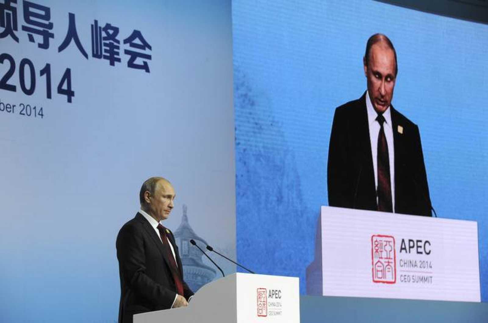 El presidente ruso, Vladimir Putin, durante su intervención en la cumbre de la APEC