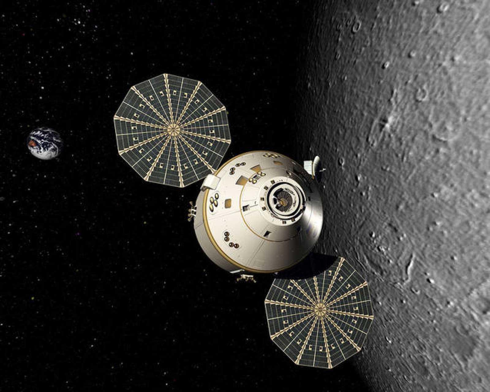 Impresión artística de la Orion durante una misión.