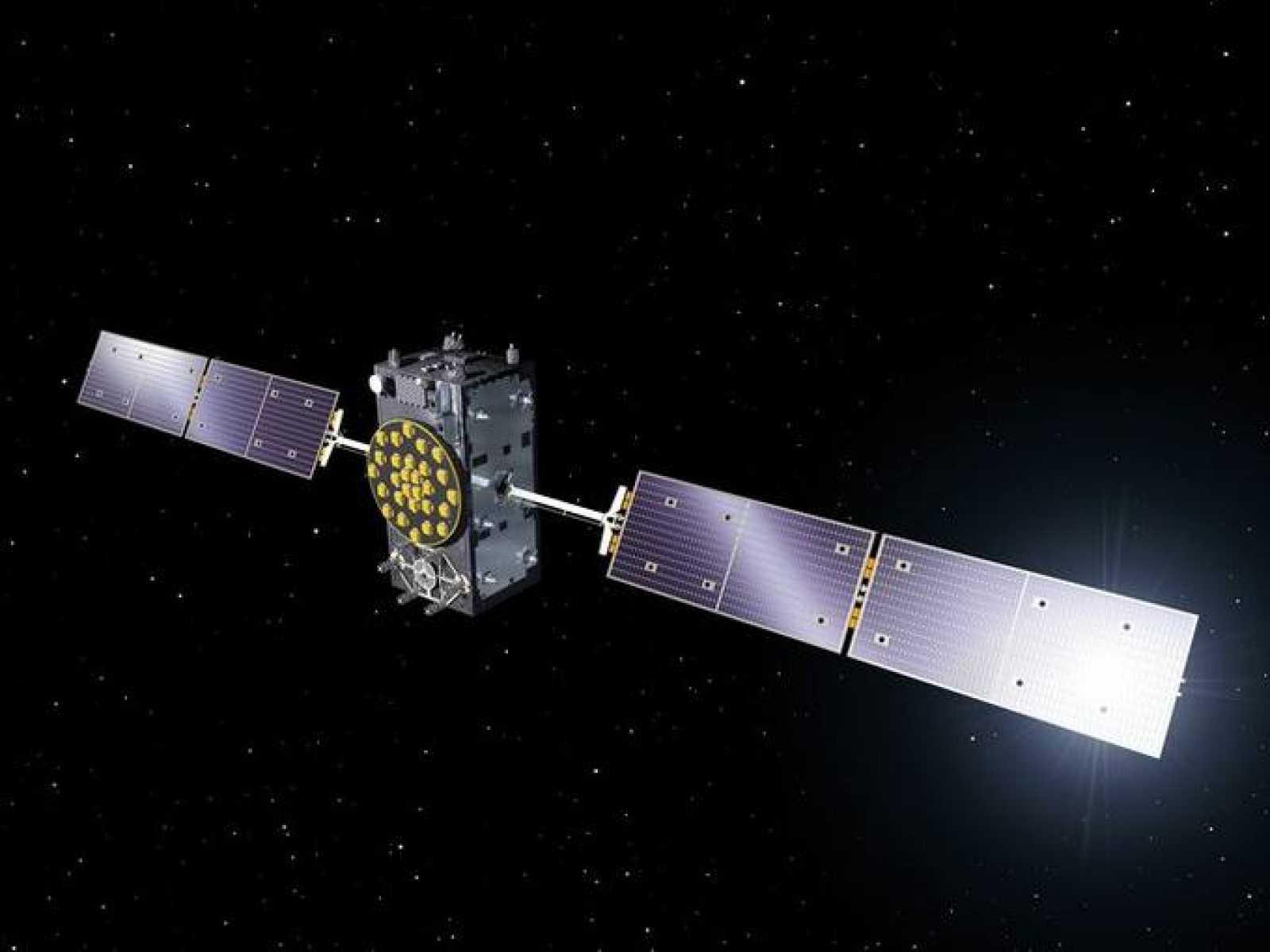 Ilustración de un satélite Galileo en órbita.