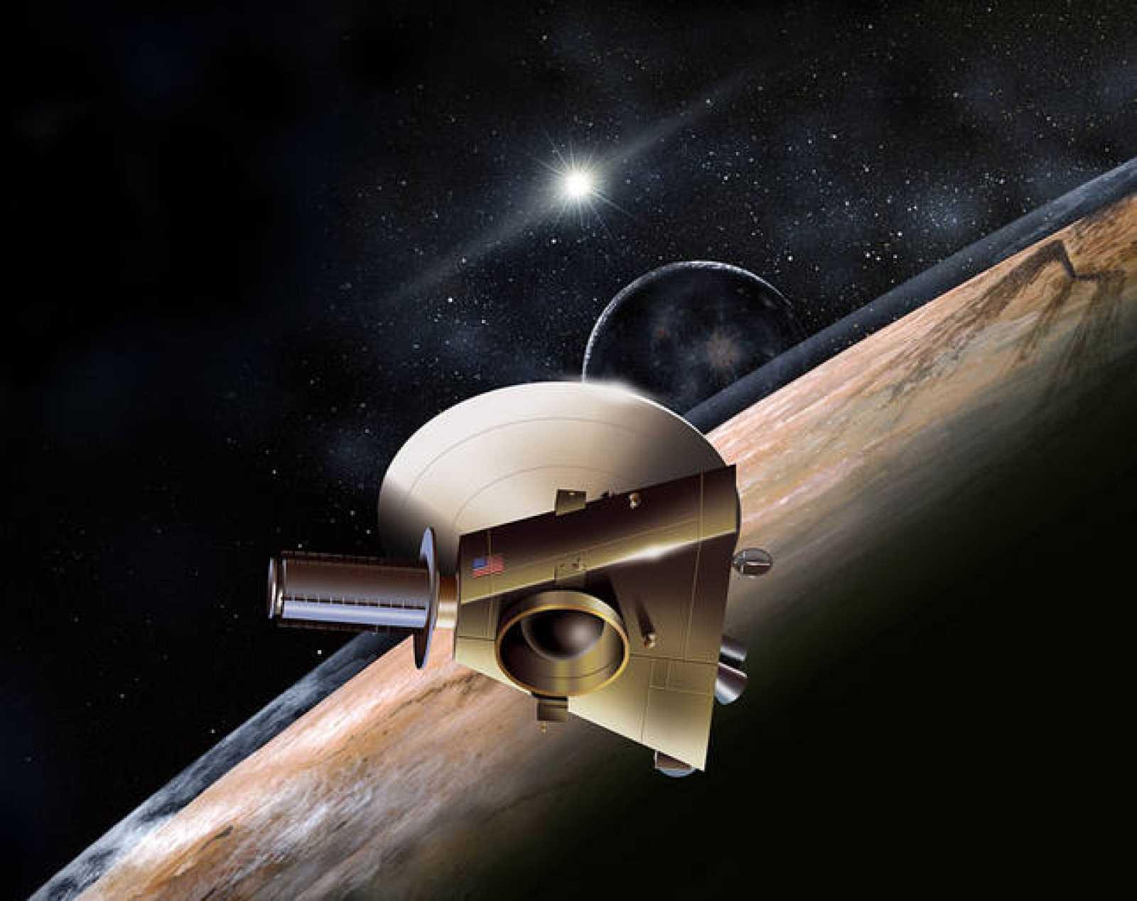 Representación artística de la New Horizons en las proximidades de Plutón.