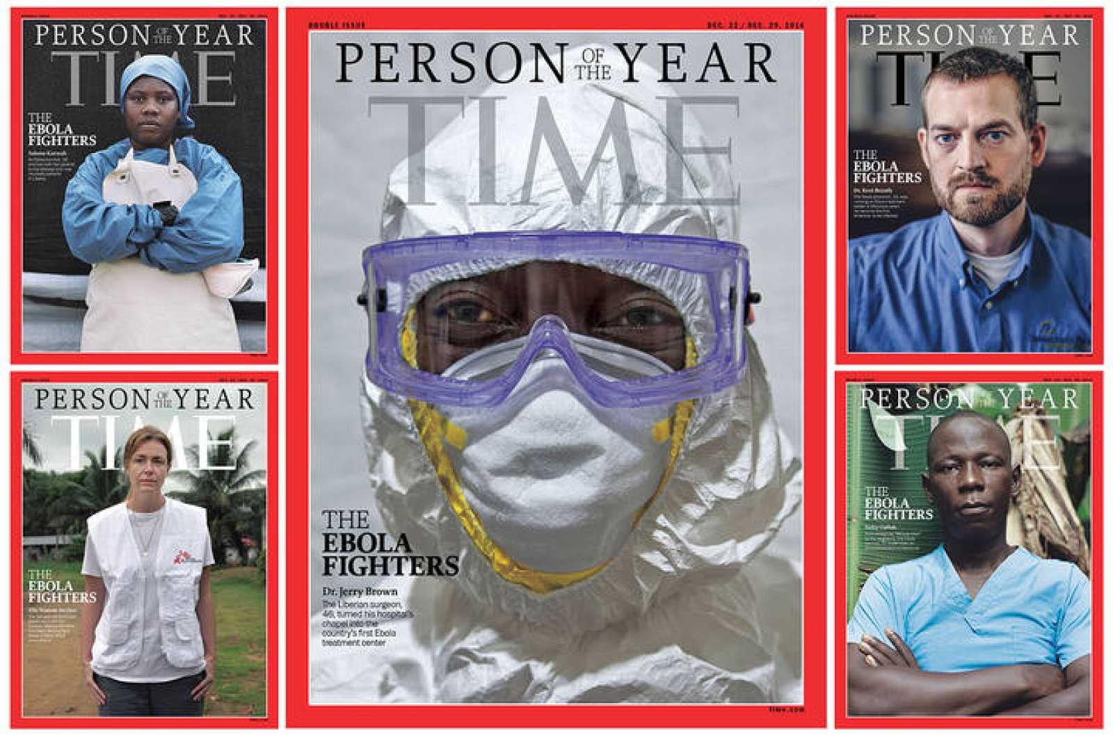"""Portada de la revista 'Time' dedicada a """"los combatientes del ébola""""."""