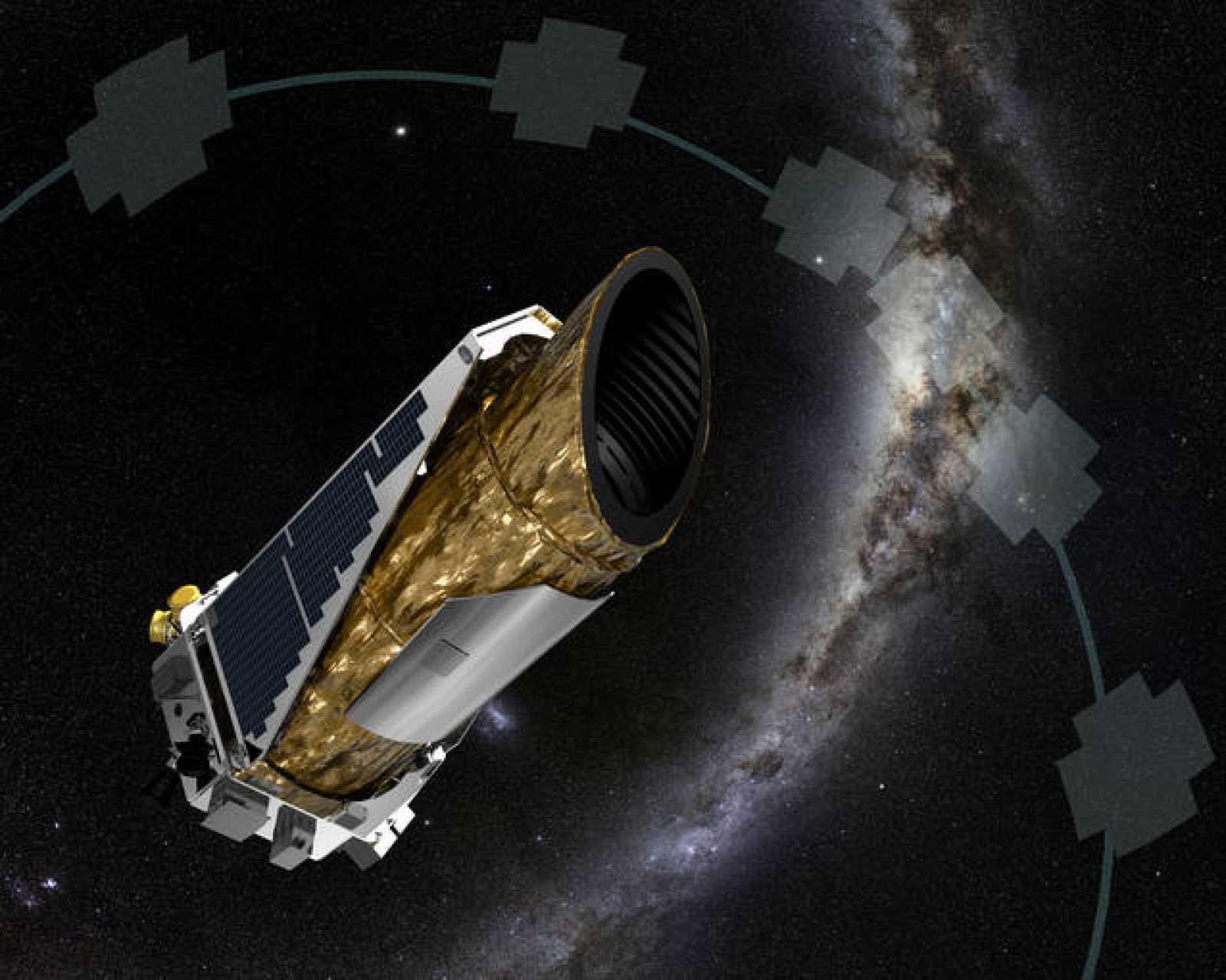 Impresión artística del telescopio espacial Kepler y de las zonas del espacio que va observando en la misión K2