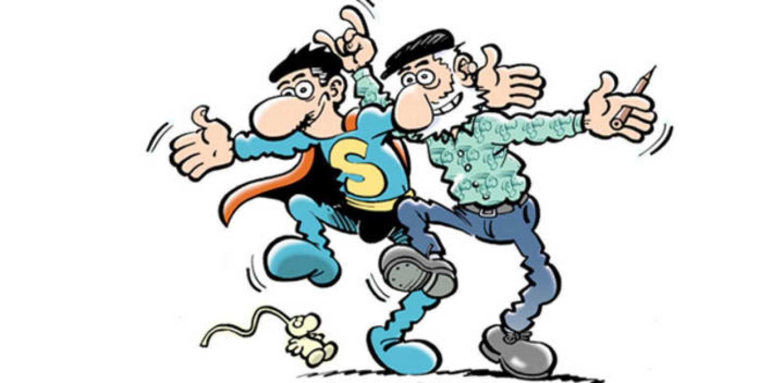 Autorretrato de Jan con Superlópez, su personaje más popular