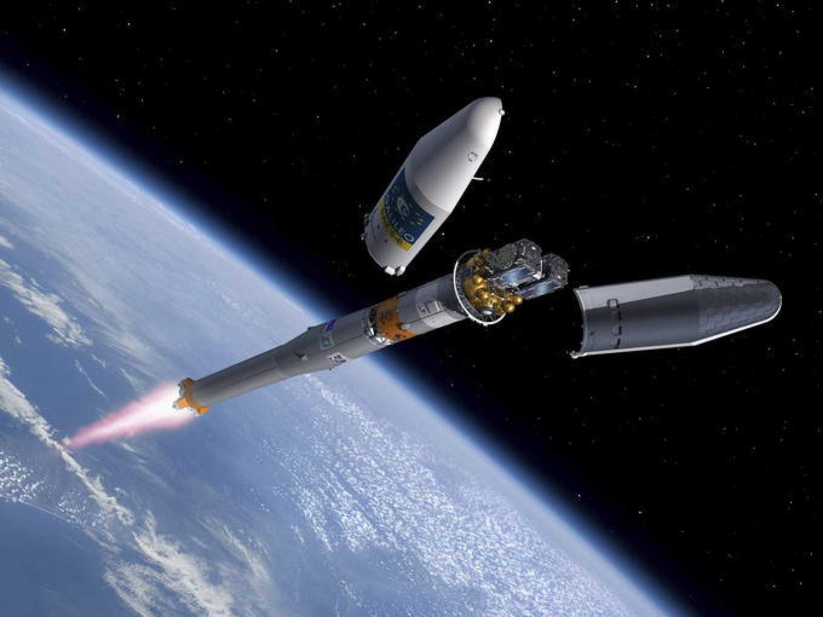 Impresión artística de los satélites durante su lanzamiento
