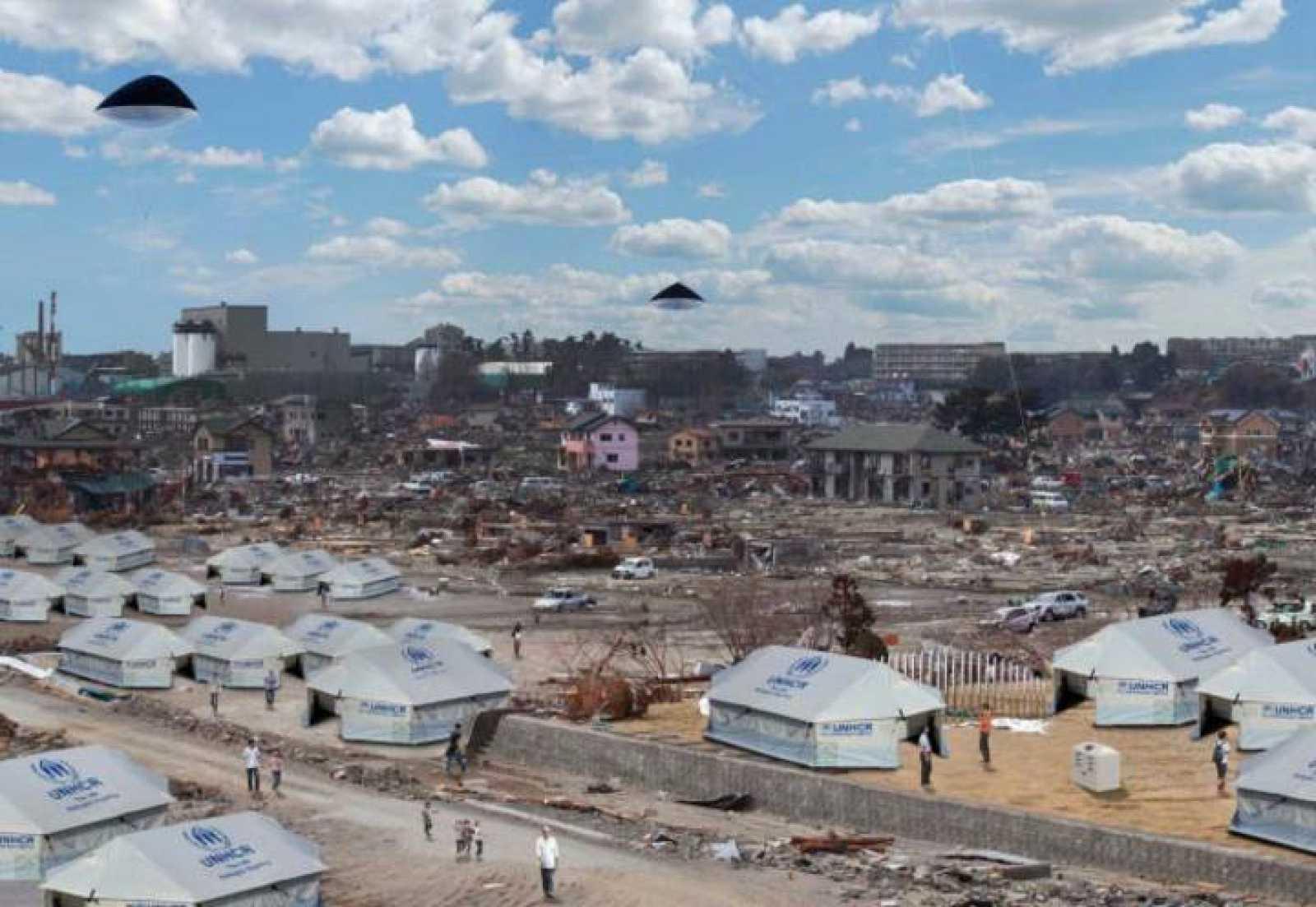 Recreación de los globos fotovoltaicos funcionando sobre una zona de desastre.