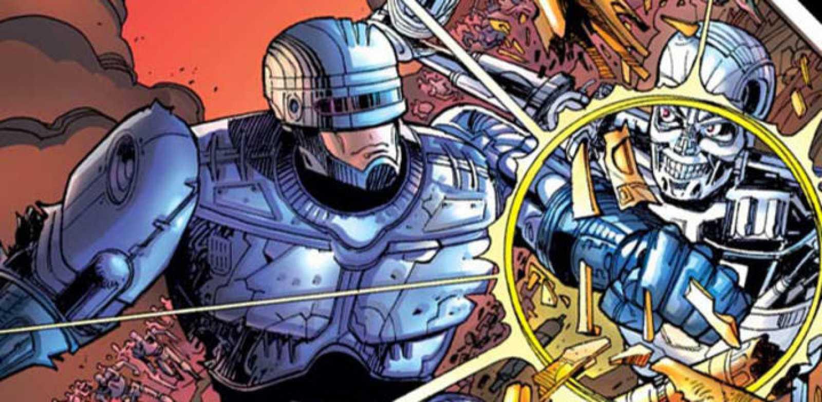 Fragmento de una viñeta de 'Robocop versus The Terminator'