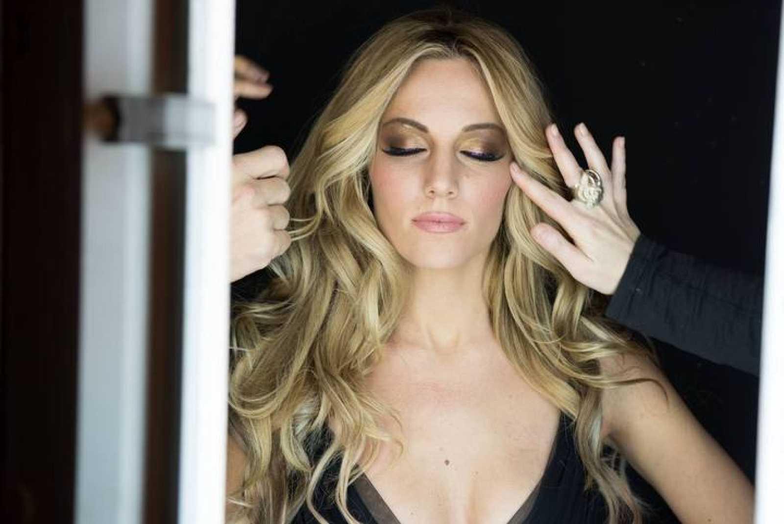 Edurne durante la grabación del videoclip de 'Amanecer'