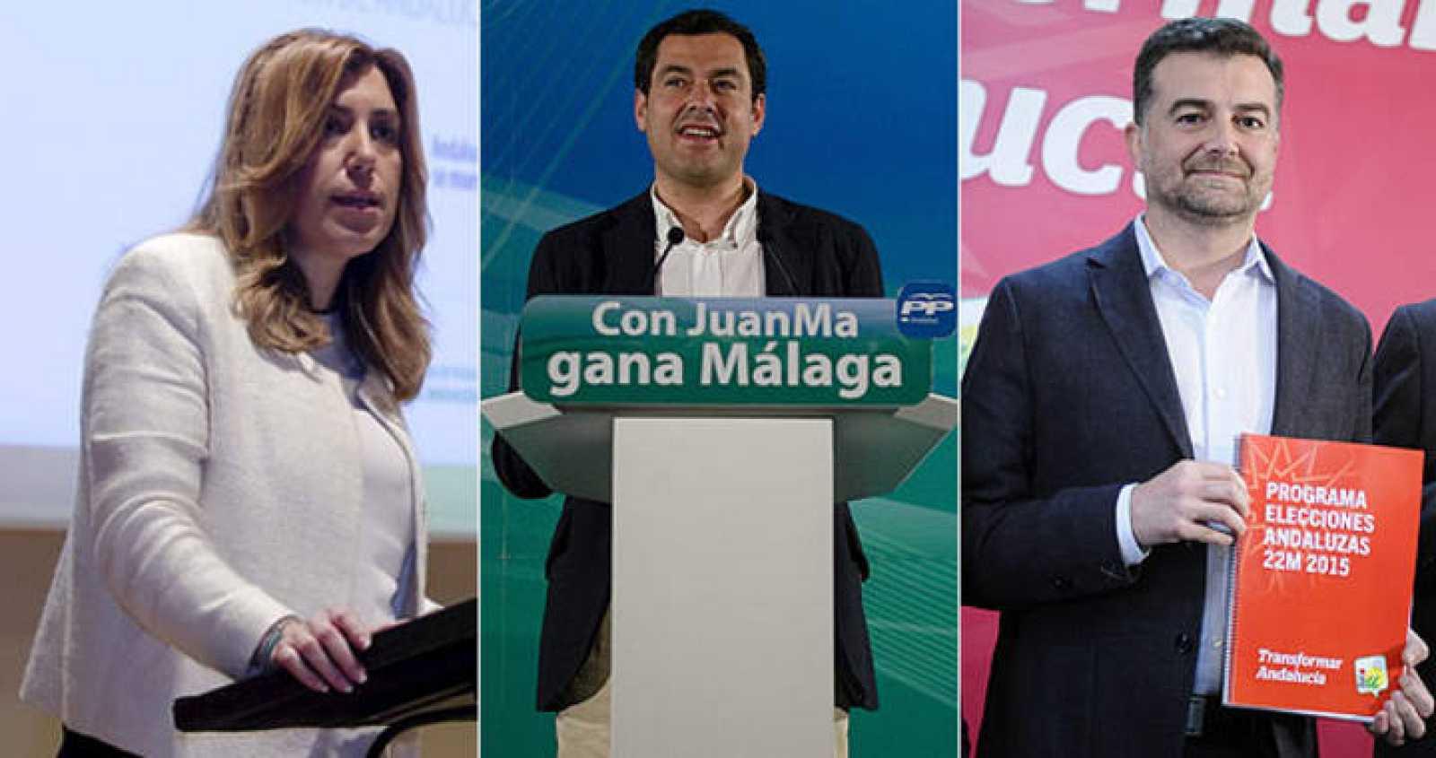 Susana Díaz, Juanma Moreno y Antonio Maíllo protagonizarán dos debates electorales en la campaña andaluza.