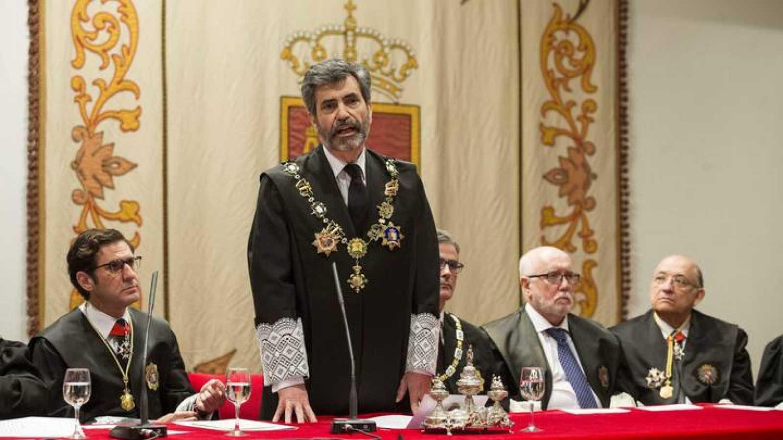 Miguel Pascual de Riquelme (i), en su toma de posesión como presidente del TSJ de Murcia