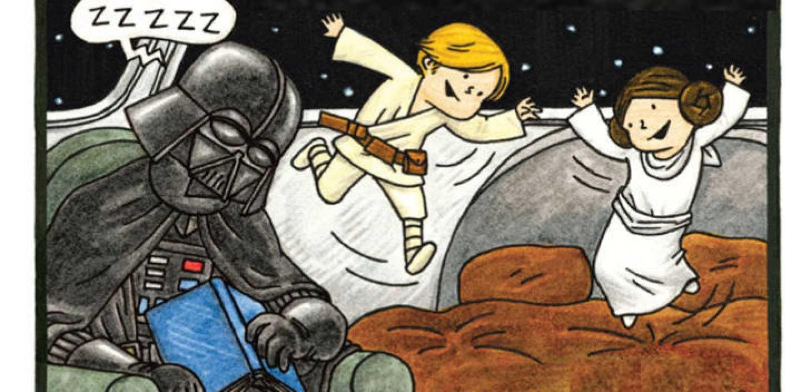 Fragmento de la portada de 'Buenas noches, Darth Vader'