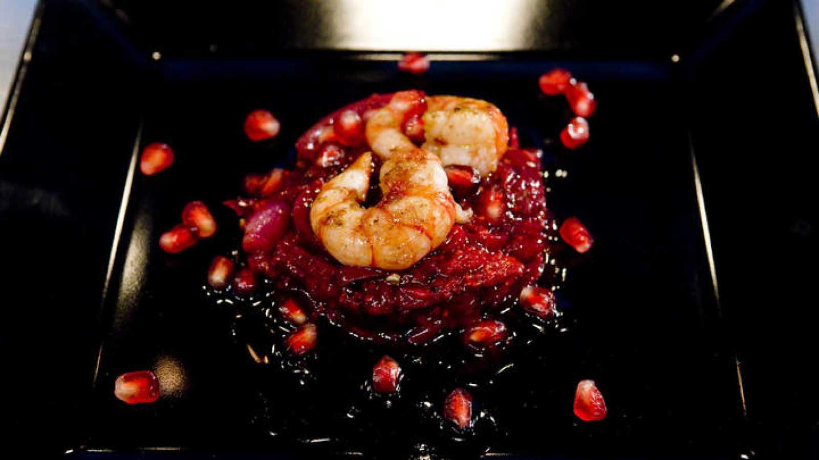 Receta de escabeche de frutos rojos con gambas