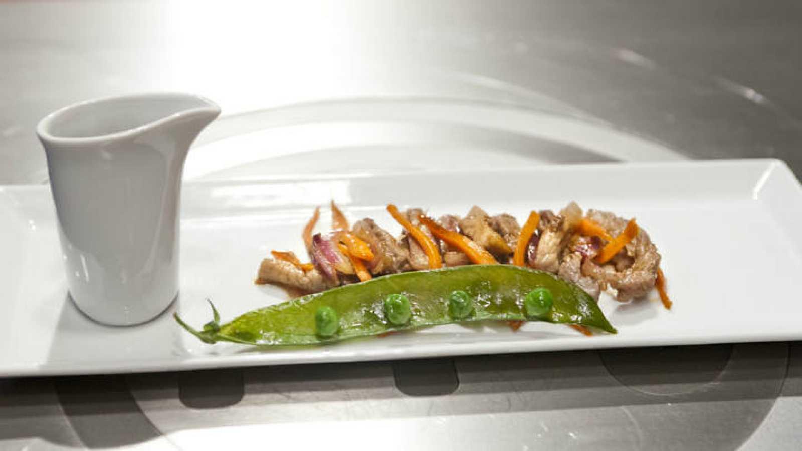 Receta de Ternera y cerdo agridulce con verduras