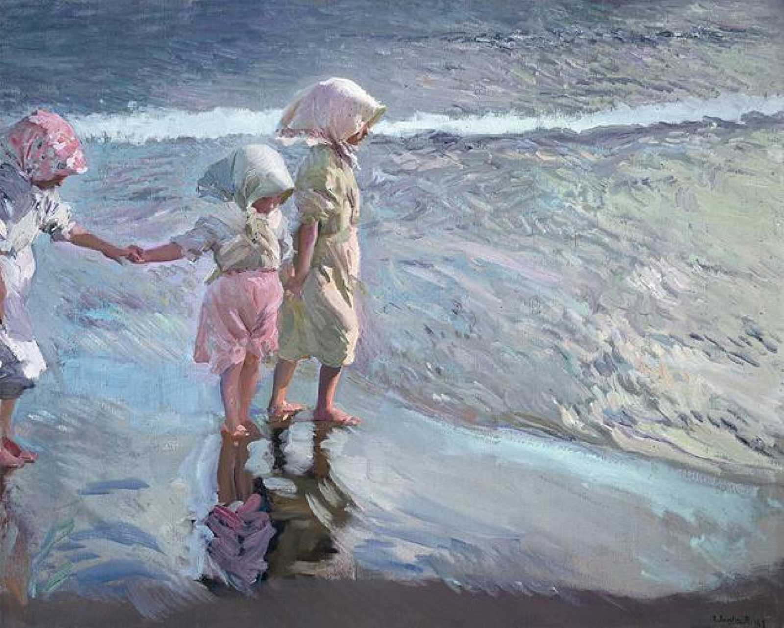 """""""Las tres hermanas en la playa"""", Sorolla (1908)"""