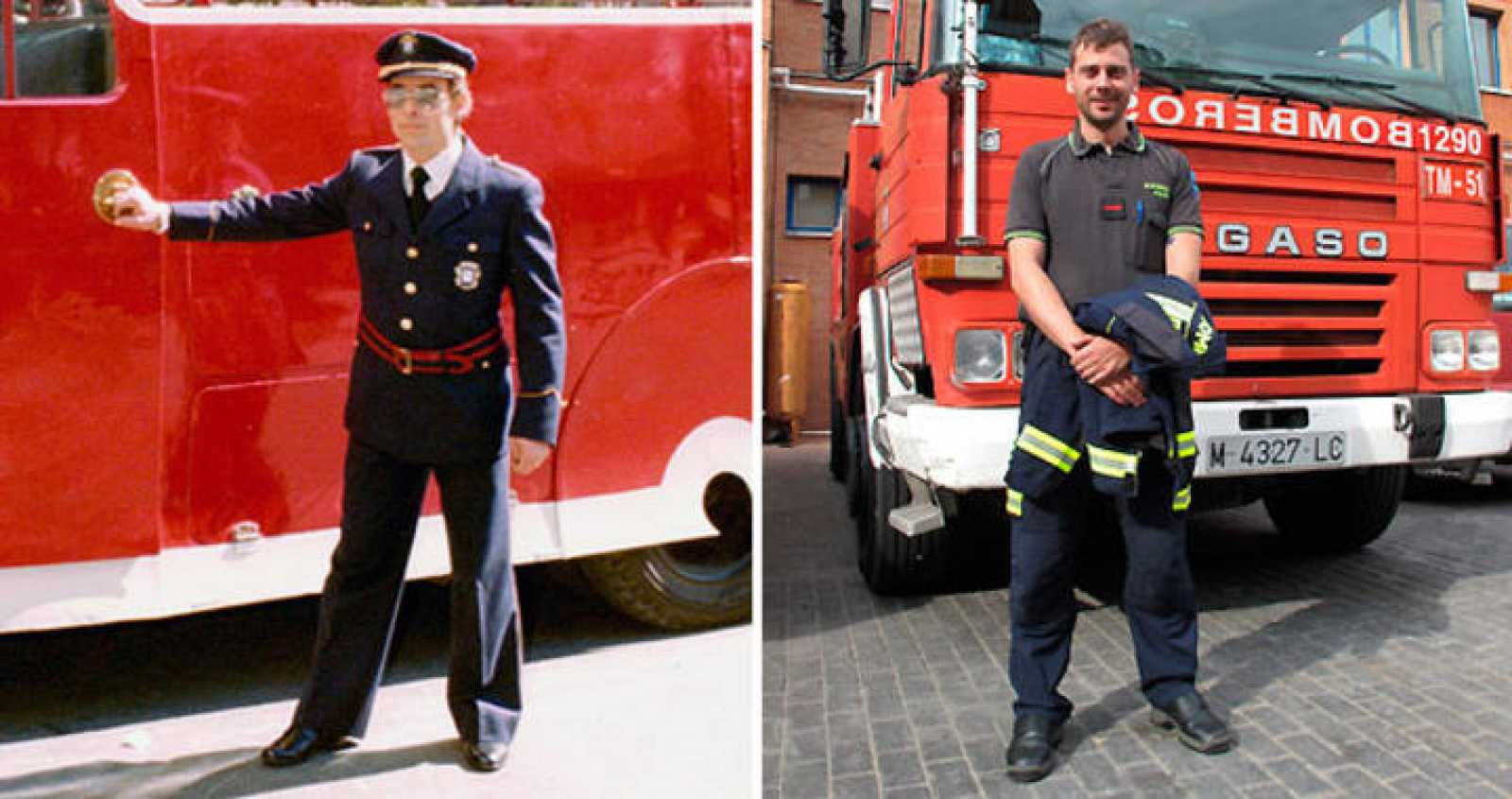 Felipe García padre e hijo, bomberos de Madrid