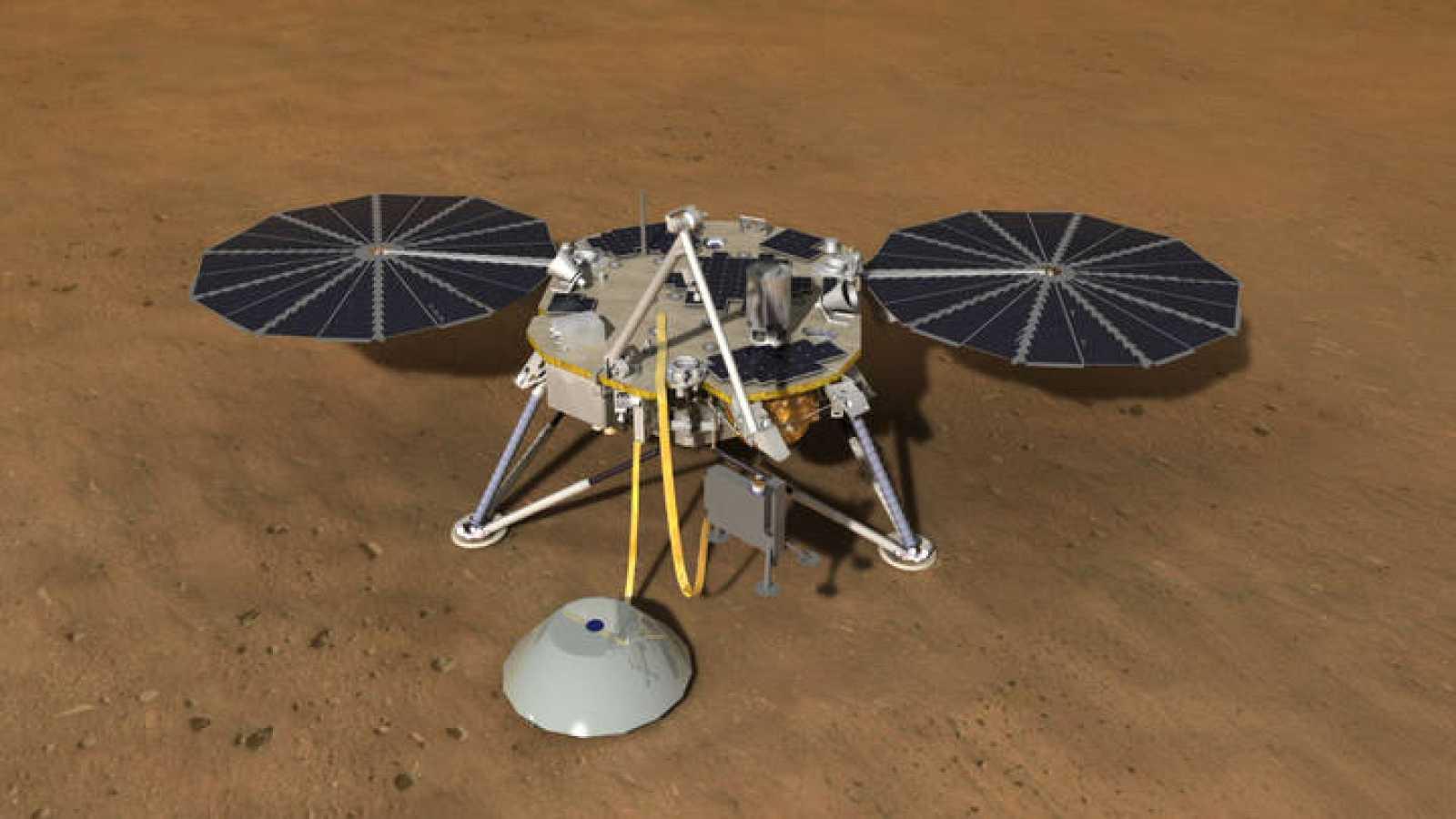 Ilustración del aterrizador de la misión InSight a Marte
