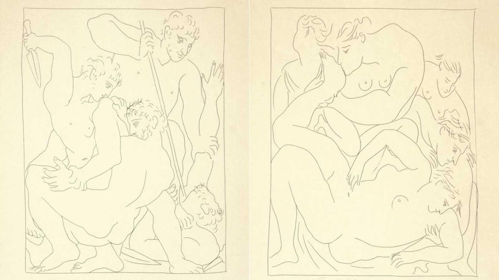 Dos de los aguafuertes de Picasso para ilustrar 'Las metamorfosis' de Ovidio.