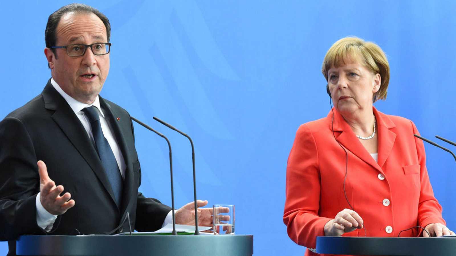 El presidente francés, François Hollande, y la canciller alemana, Angela Merkel