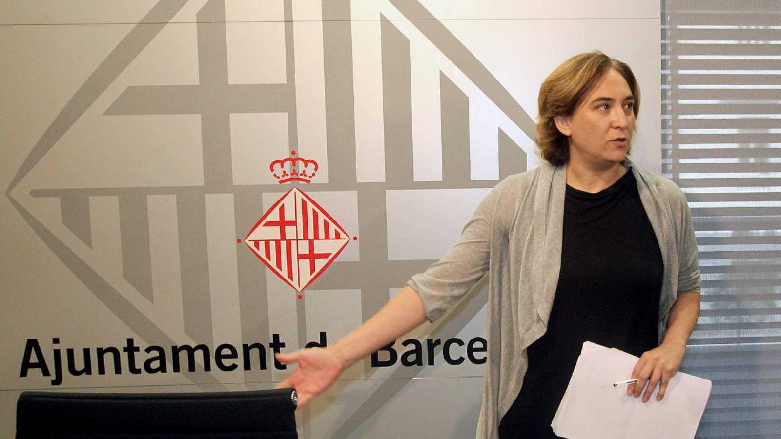 La alcaldesa de Barcelona, Ada Colau, en una rueda de prensa la semana pasada