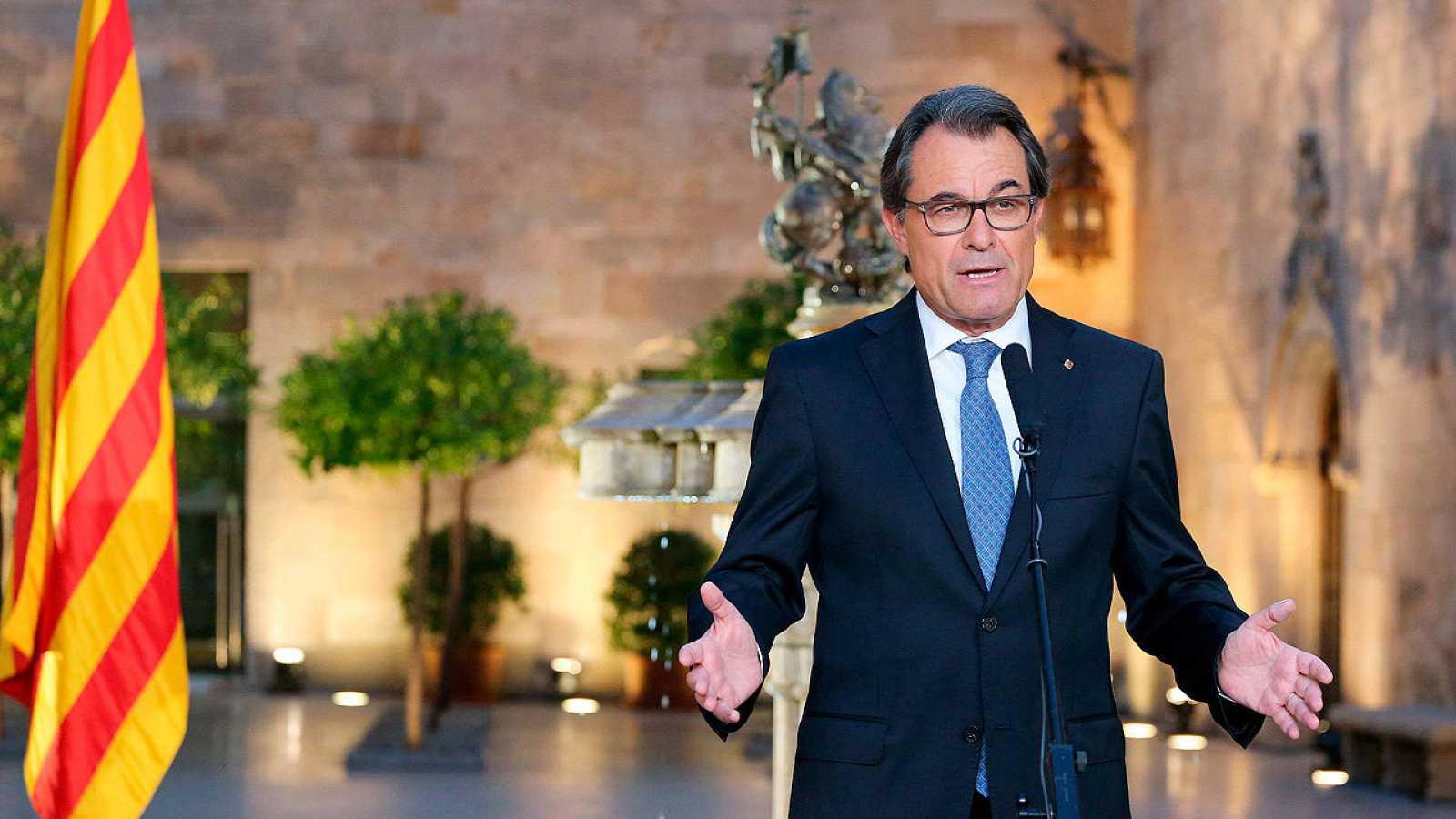 Artur Mas, en su comparecencia tras firmar el decreto de convocatoria del 27S