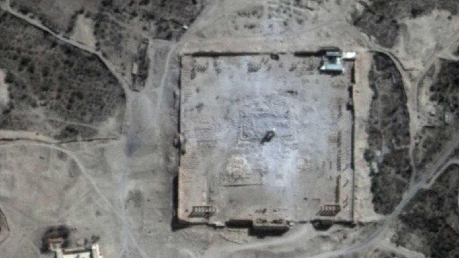 Imagen por satélite del templo de Bel en Palmira, el 31 de agosto