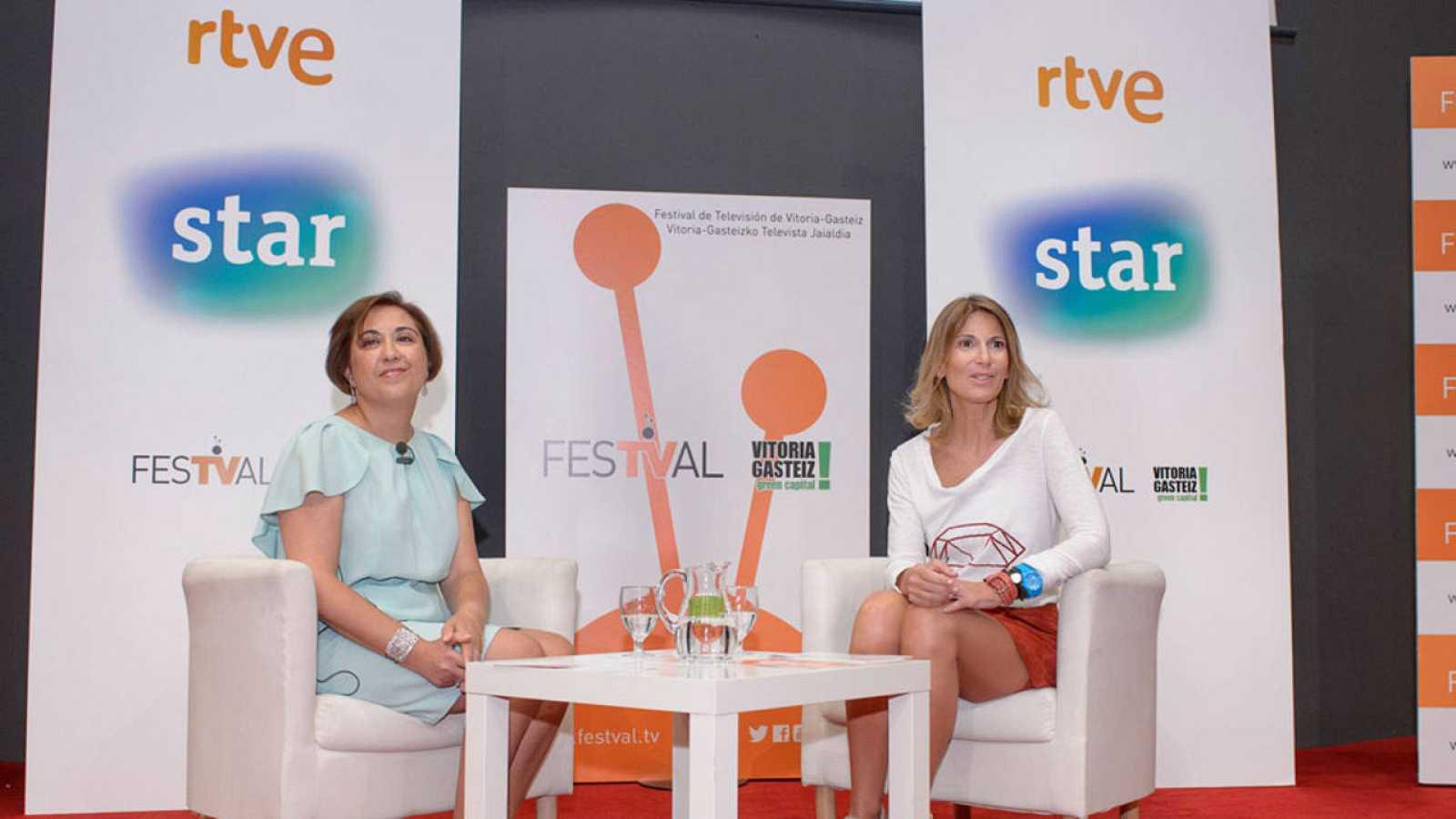 María José Bultó, directora de Estrategia e Imagen de TVE, y María Jesús Pérez, subdirectora de Ventas Internacionales de TVE.