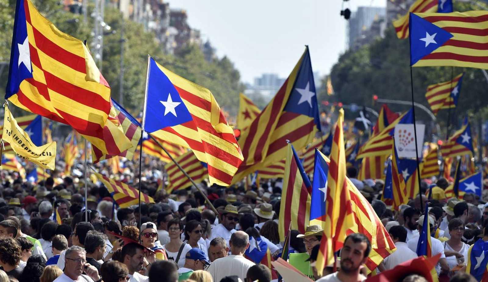 Manifestantes independentistas en la celebración de la Diada.