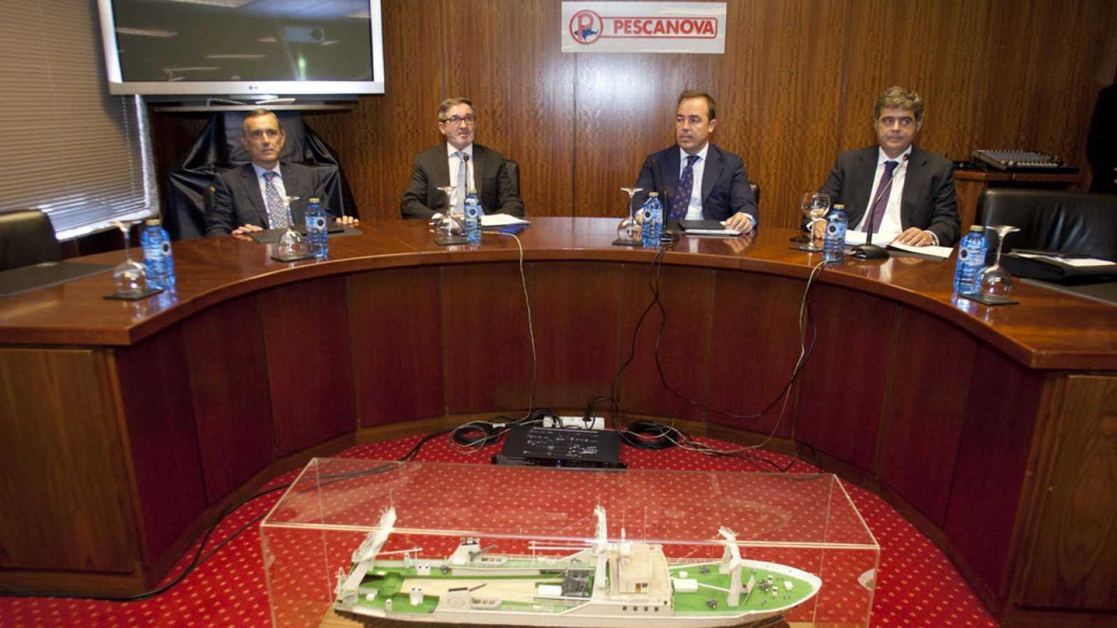 Junta de accionistas de Pescanova. En la imagen, los miembros del consejo, Alejandro Legarda, Fernando Herce, Diego Fontán y César Mata