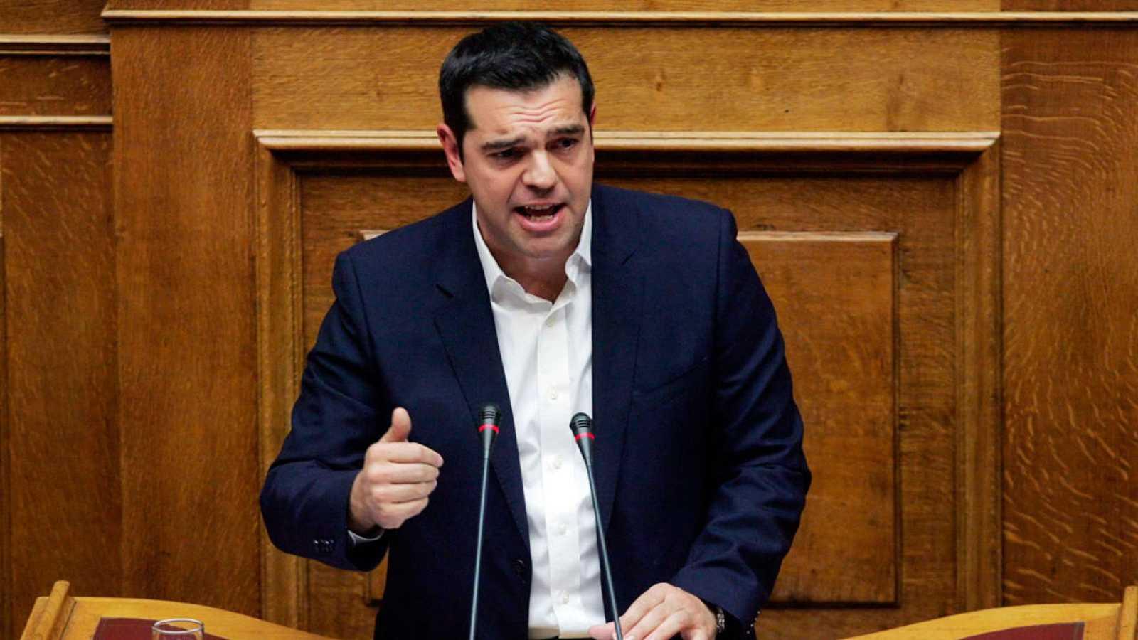 El primer ministro girego, Alexis Tsipras, durante su intervención en el Parlamento griego.
