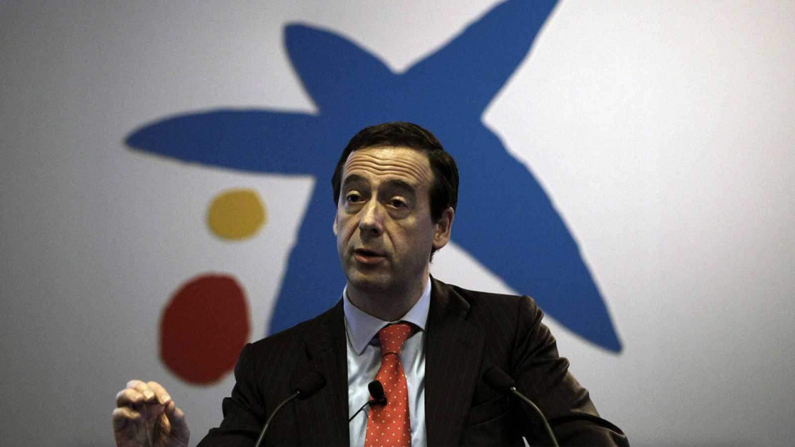 El consejero delegado de CaixaBank, Gonzalo Gortázar, durante el acto de presentación de resultados de la entidad en 2014