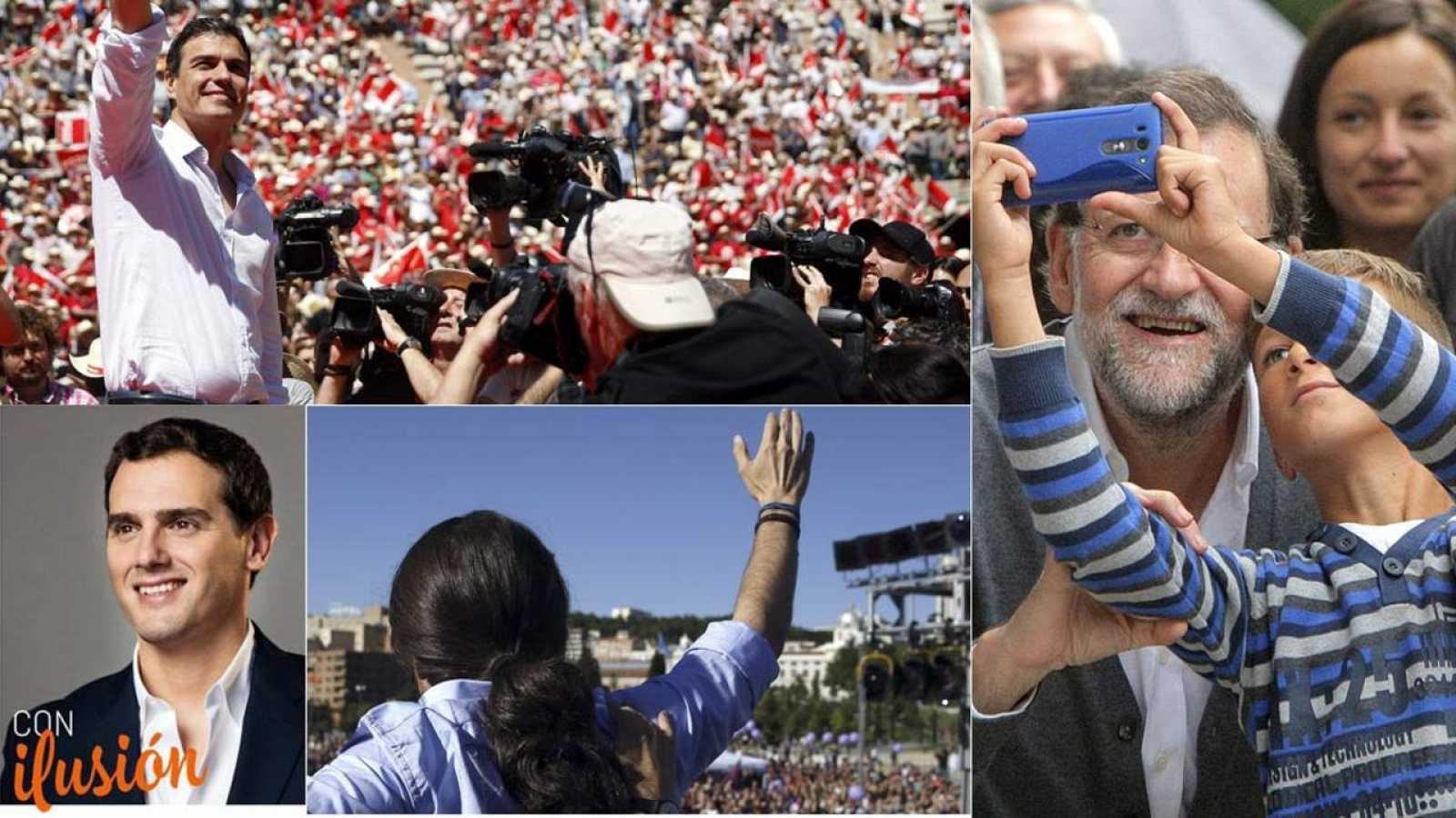 Imagen compuesta con Pedro Sánchez (PSOE), Mariano Rajoy (PP), Albert Rivera (C's) y Pablo Iglesias (Podemos)