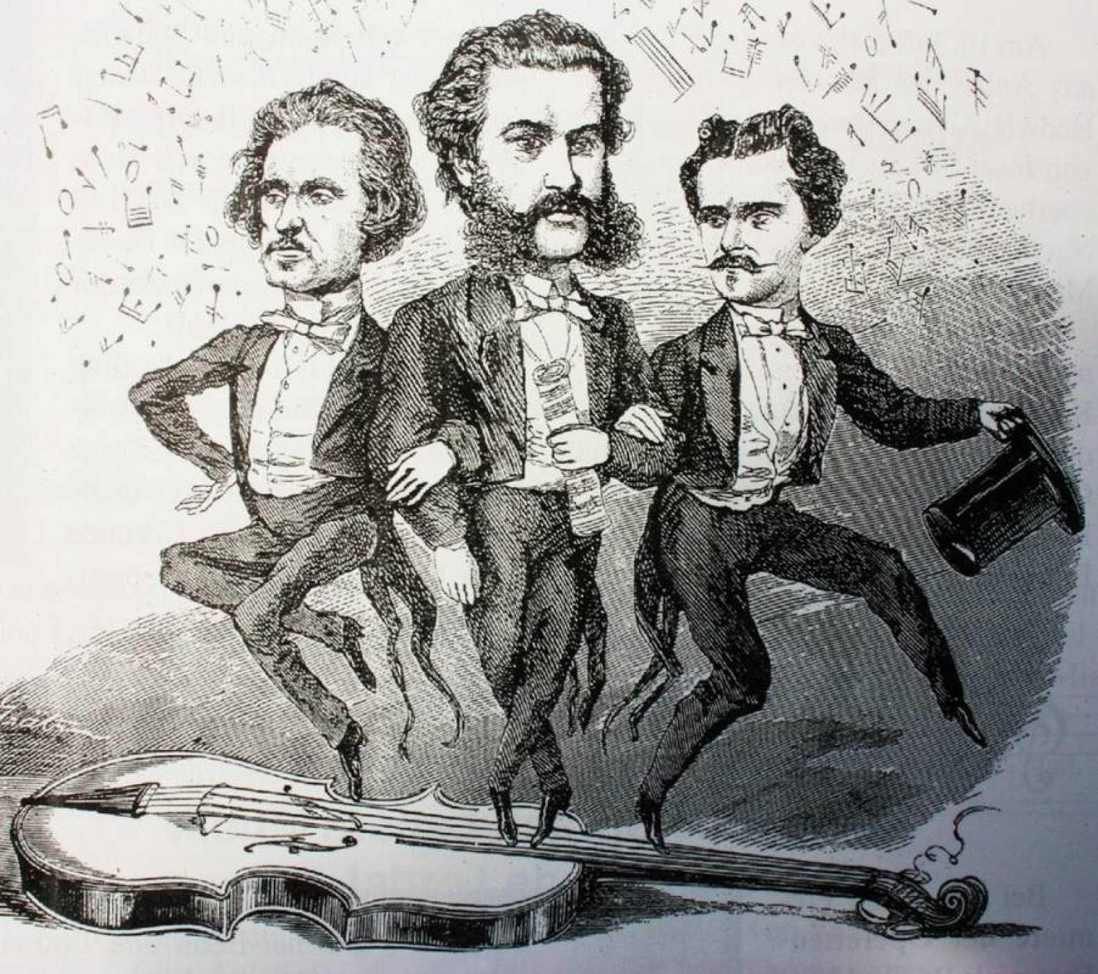Johann, el patriarca de la dinastía Strauss, junto a dos de sus hijos, Josef y Eduard, en una caricatura de la época