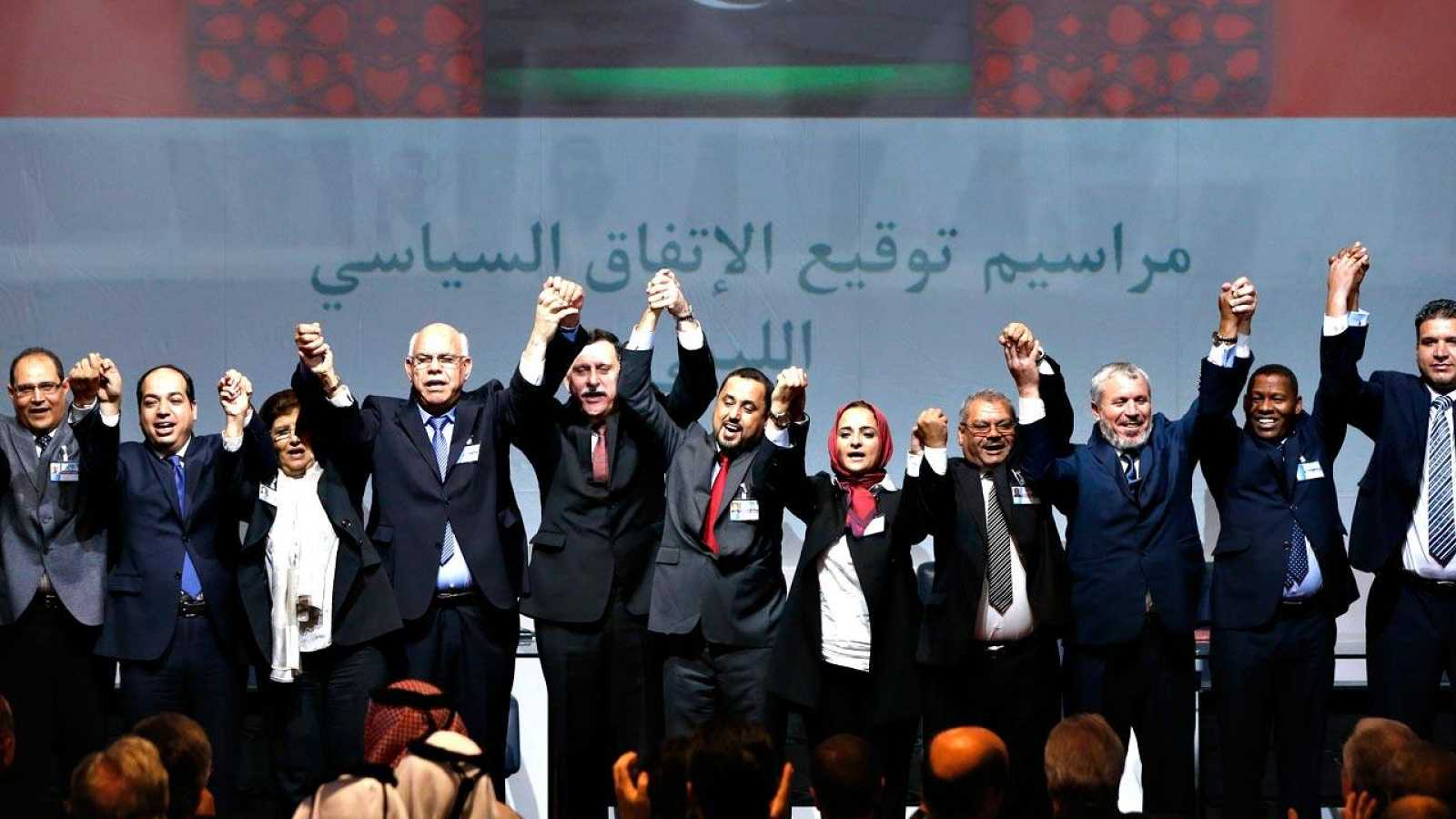 Firma en Marruecos del acuerdo para la constitución de un gobierno de unidad nacional en Libia, el pasado mes de diciembre