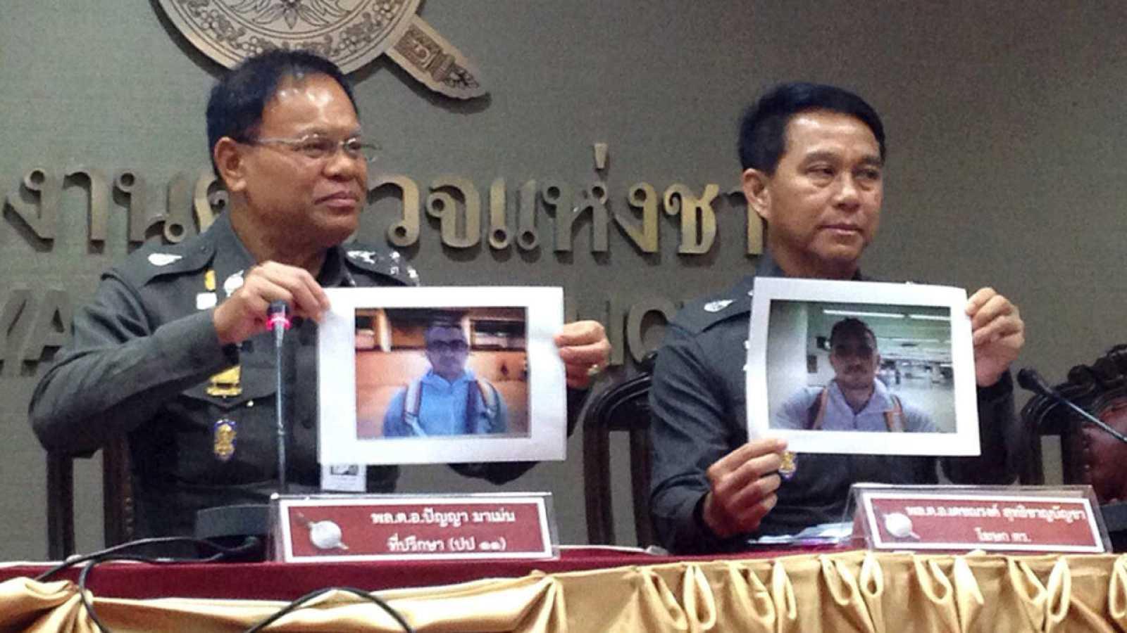 Los responsables de la investigación muestran dos imágenes de los sospechosos del asesinato de David Bernat, entre los que está Artur Segarra