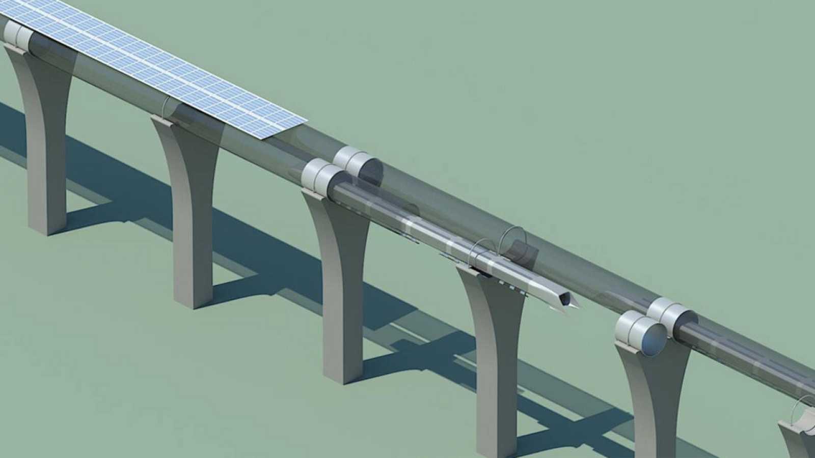 Los tubos por donde viajan las cápsulas irán recubiertos de paneles solares.