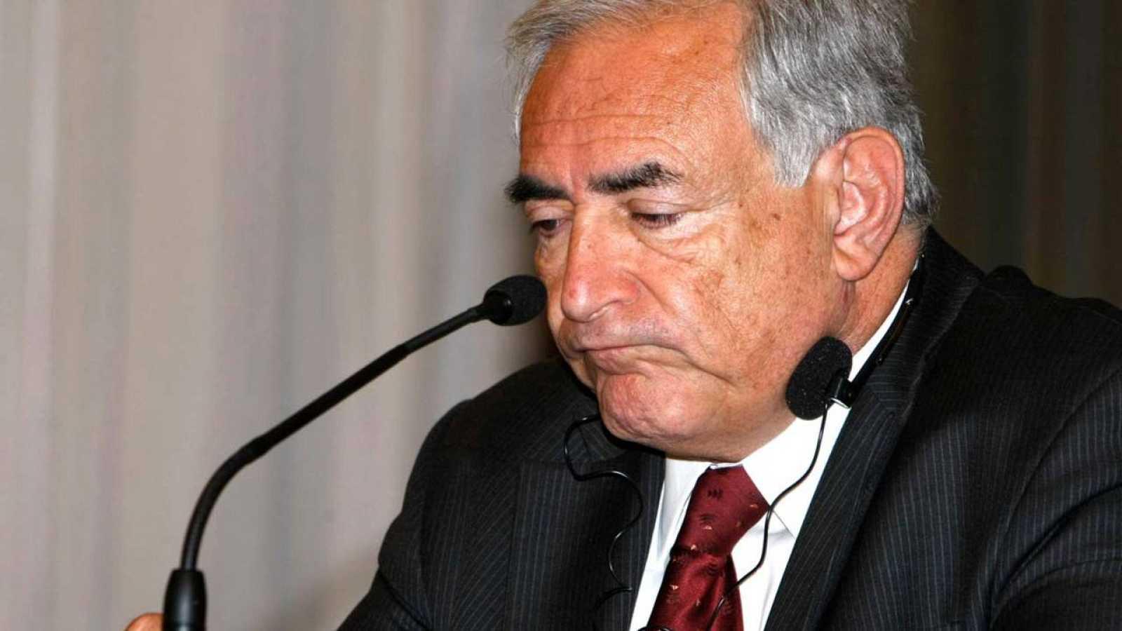 El exdirector gerente del FMI Dominique Strauss-Kahn, durante una rueda de prensa en Madrid