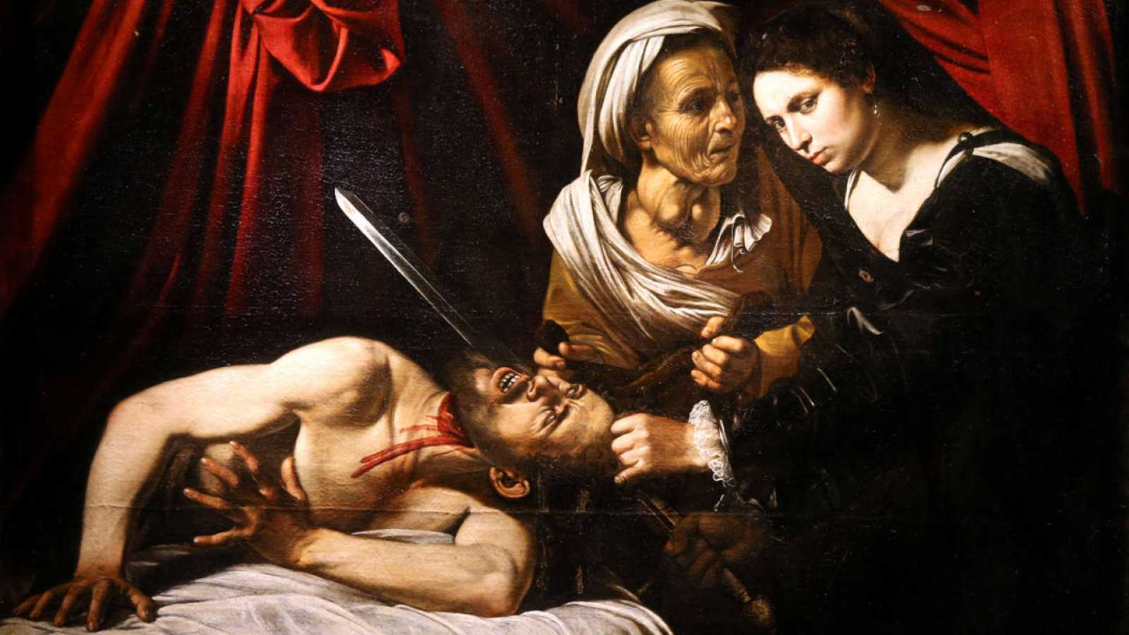 "A detail of a painting entitled ""Judith Beheading Holofernes"" is pictured during its presentation in Paris"