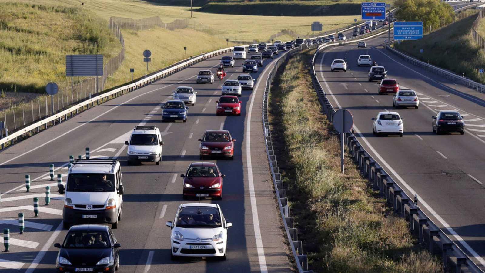Estado de la circulación en la A-5, Carretera de Extremadura, en sentido entrada a Madrid este lunes.