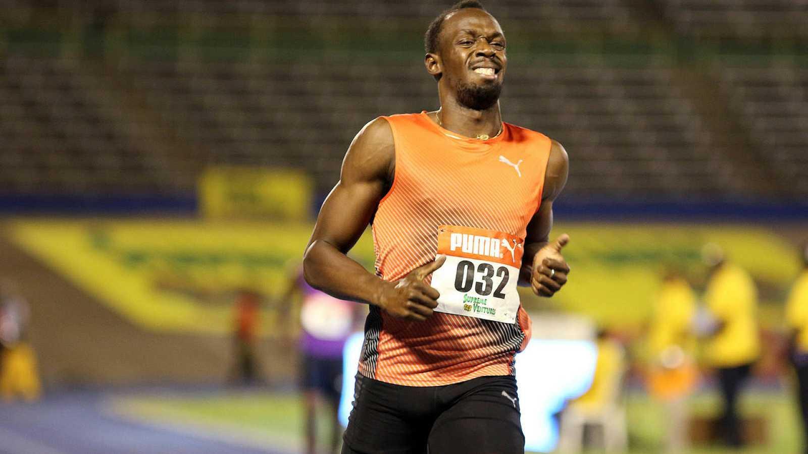 Usain Bolt, en el momento de sufrir su lesión en los campeonatos de Jamaica.