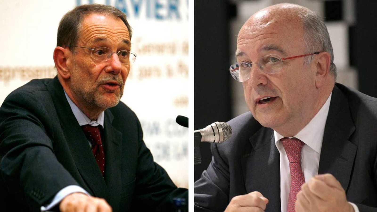Los exministros del PSOE Javier Solana y Joaquín Almunia.