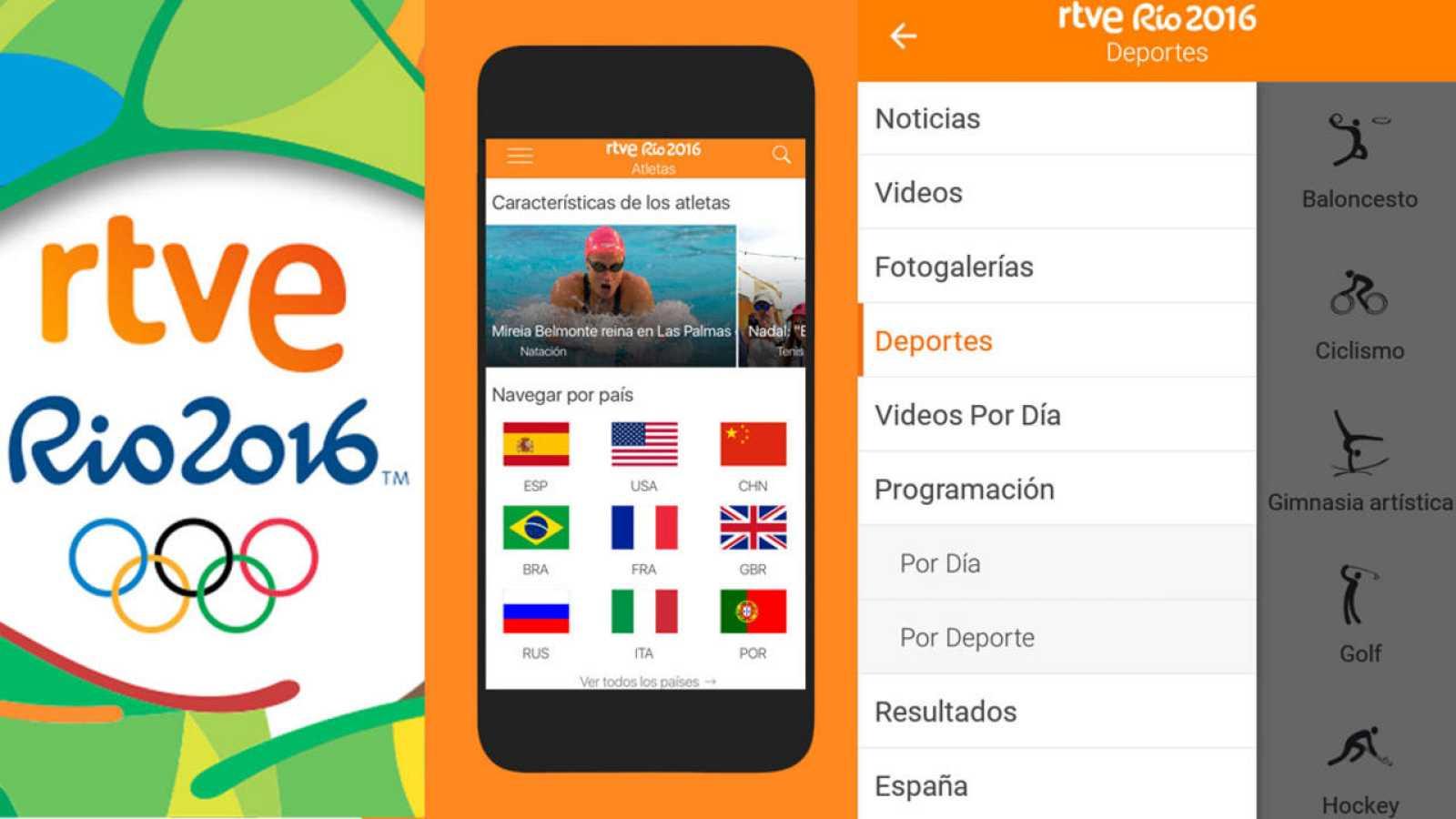 App RTVE Río 2016: 19 señales, calendario, medallero y todas las noticias