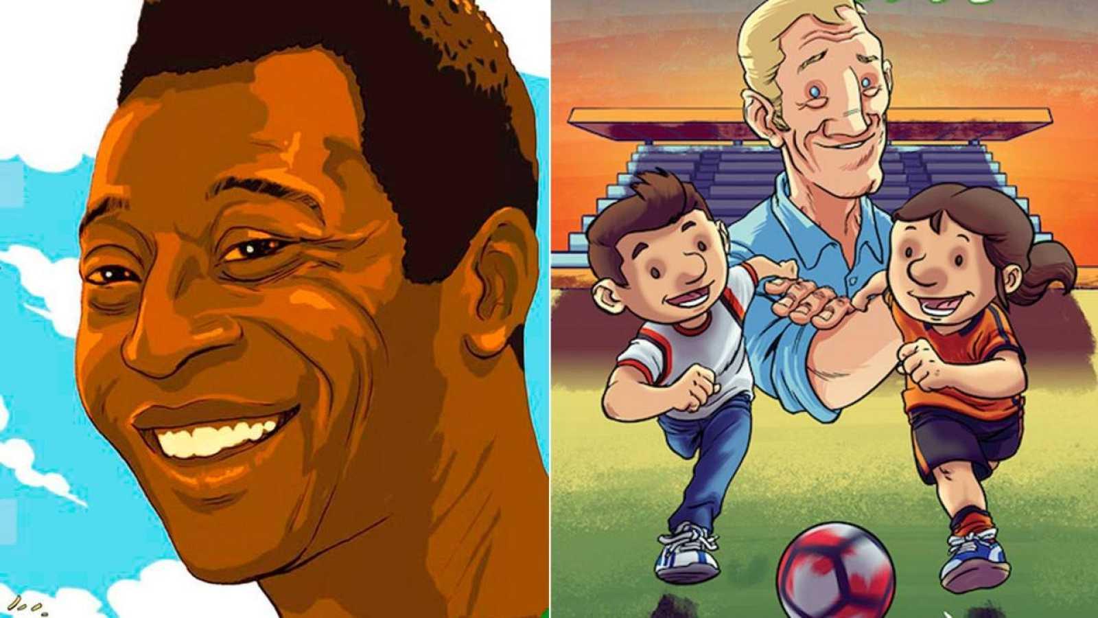 Fragmentos de las portadas de 'El rey Pelé' y 'La magia del fútbol'
