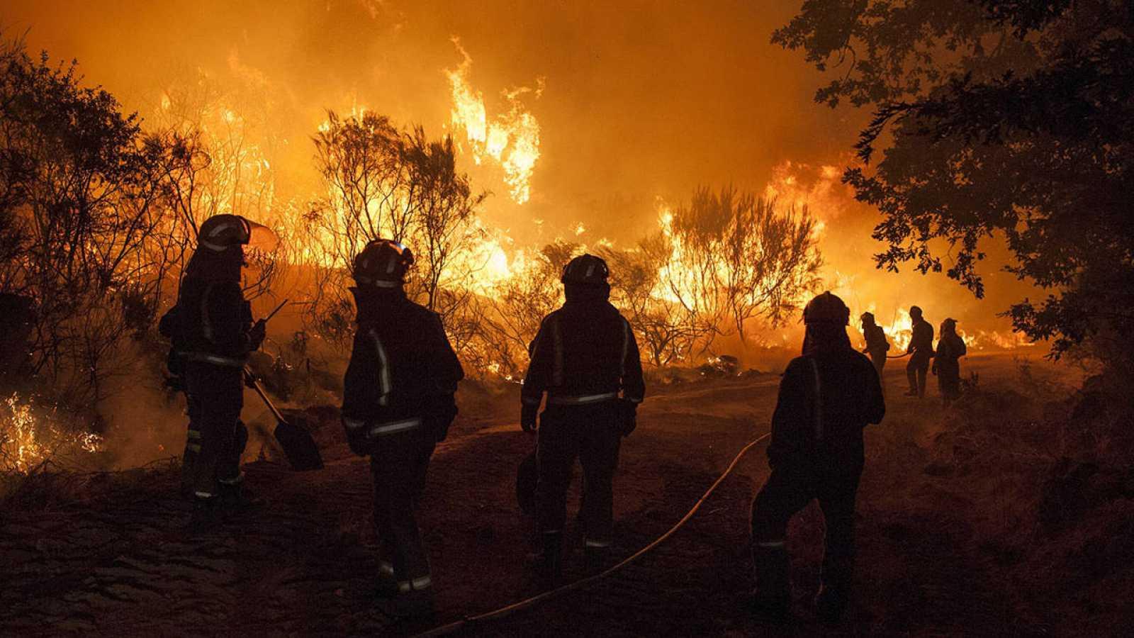 Varios bomberos combaten el fuego en Cualedro, Ourense