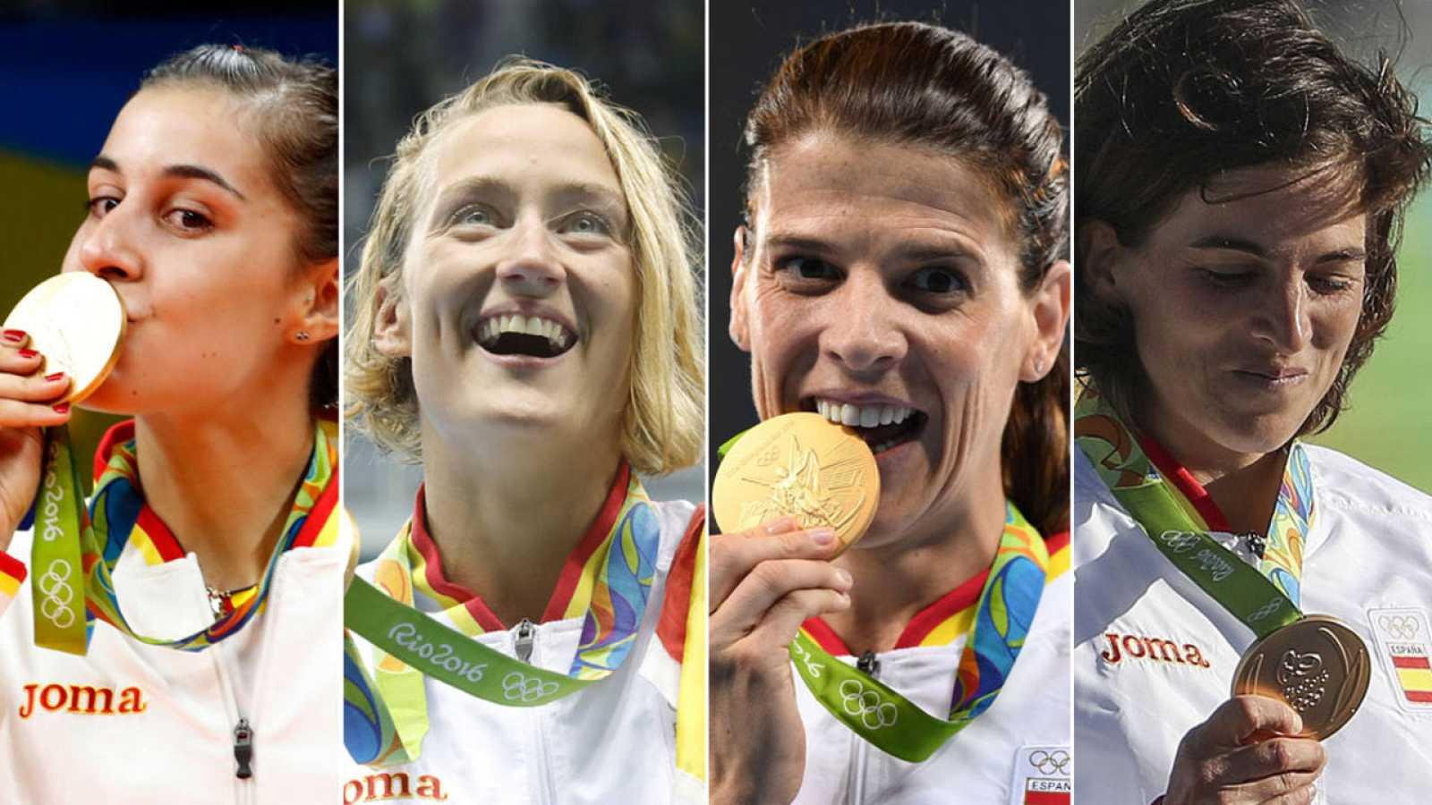 Los cuatro oros logrados por el deporte femenino español en Río 2016 Carolina Marín, Mireia Belmonte, Ruth Beitia y Maialen Chourraut