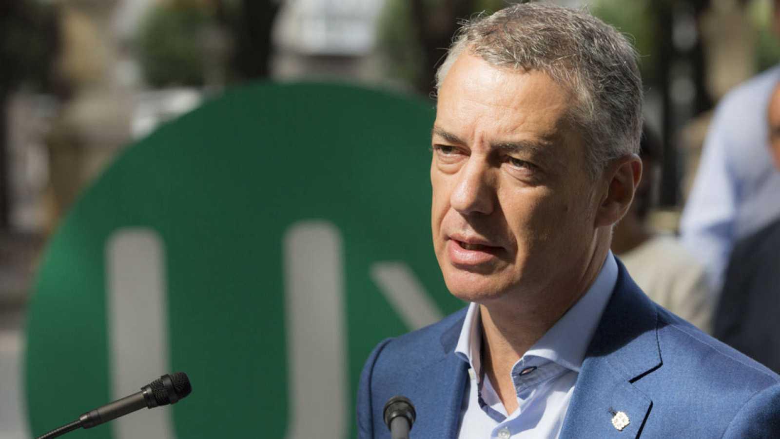 El lehendakari, Iñigo Urkullu, interviene durante un acto electoral del PNV.